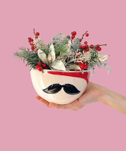 Vaso design in ceramica con baffi